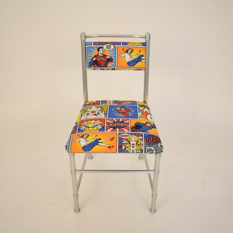 Set of Four Aluminium Dining Chairs by Warren McArthur with Pop Art Fabric Cover For Sale 7