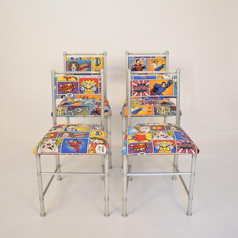 Industrial Set of Four Aluminium Dining Chairs by Warren McArthur with Pop Art Fabric Cover For Sale