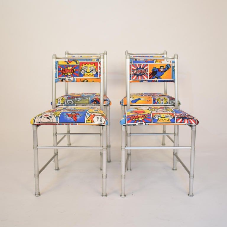 Italian Set of Four Aluminium Dining Chairs by Warren McArthur with Pop Art Fabric Cover For Sale