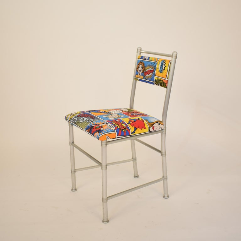 Late 20th Century Set of Four Aluminium Dining Chairs by Warren McArthur with Pop Art Fabric Cover For Sale