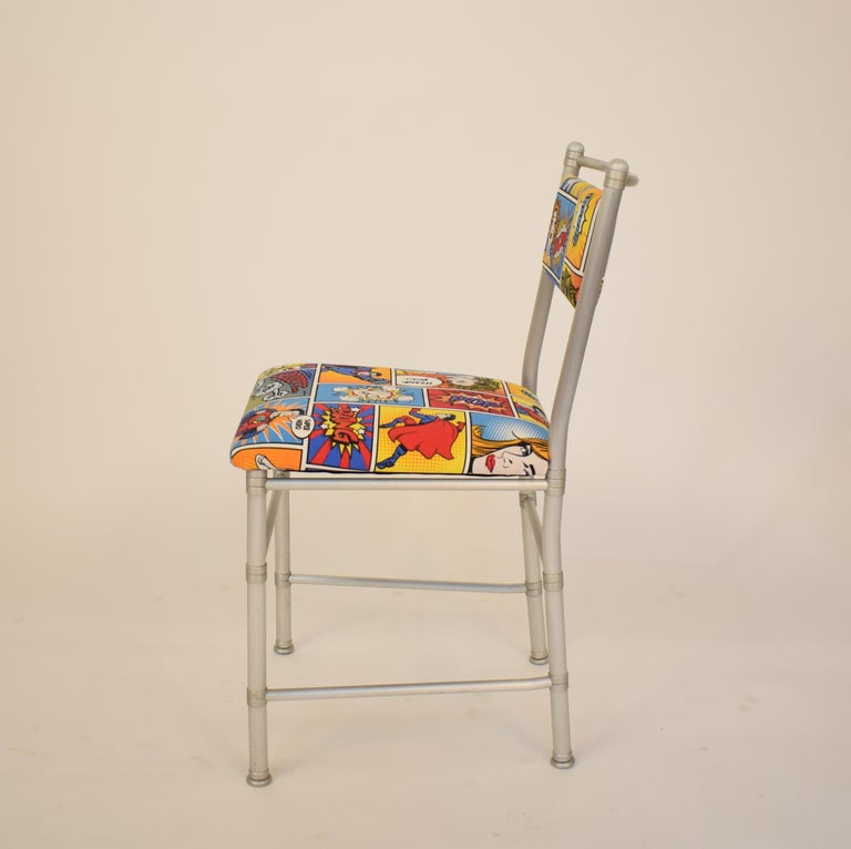 Set of Four Aluminium Dining Chairs by Warren McArthur with Pop Art Fabric Cover For Sale 1