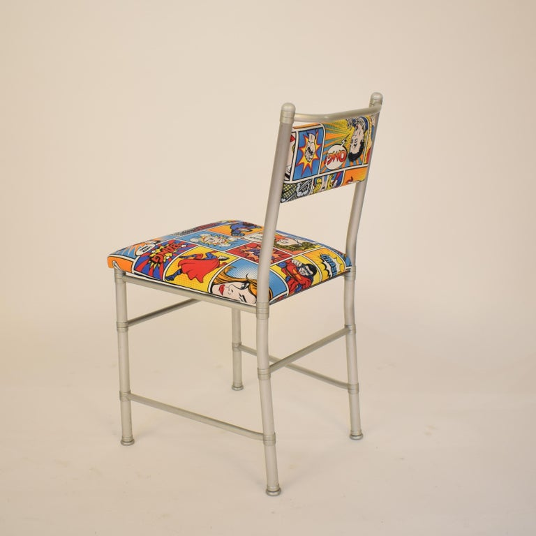Set of Four Aluminium Dining Chairs by Warren McArthur with Pop Art Fabric Cover For Sale 2