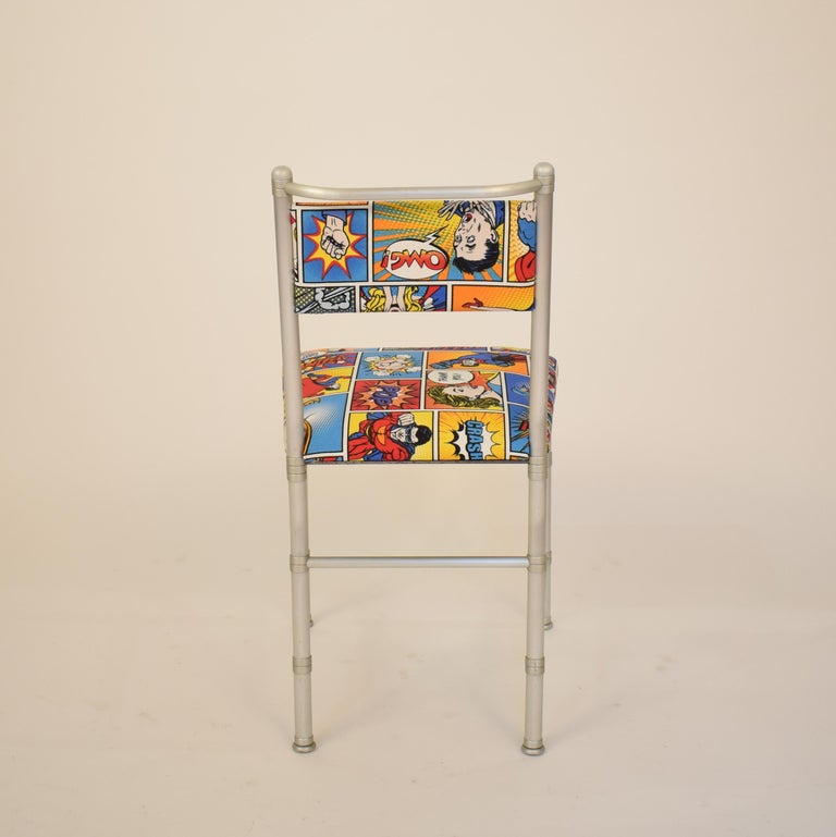 Set of Four Aluminium Dining Chairs by Warren McArthur with Pop Art Fabric Cover For Sale 3