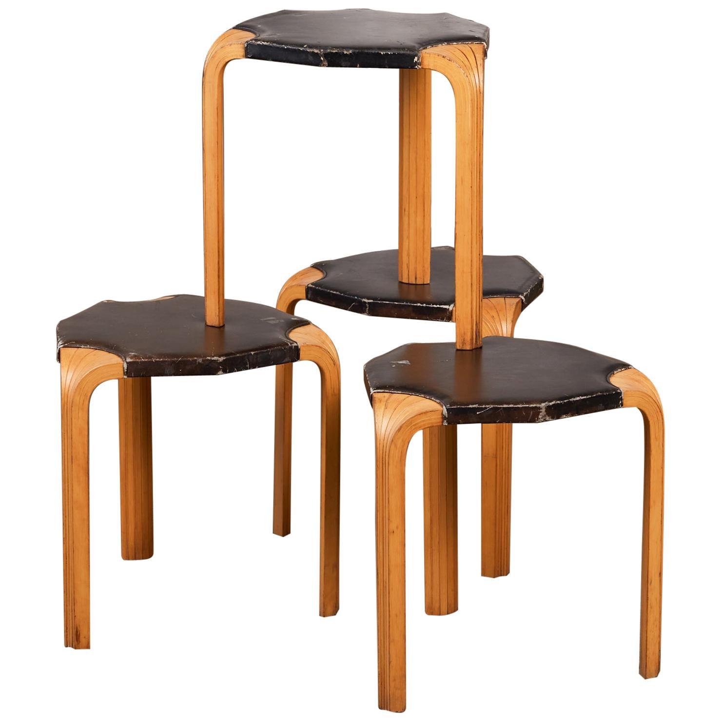"""Set of Four Alvar Aalto """"Model X602"""" Stools for Artek"""