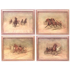 Set of Four American Art Moderne 'Mid-20th Century' Signed Oil Paintings