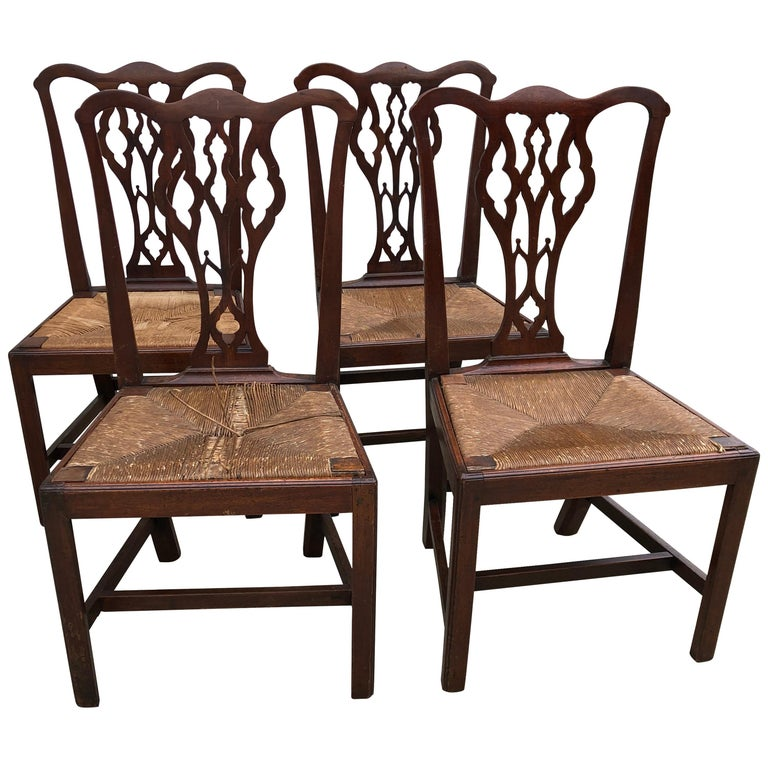 Set Of Four American Chippendale Walnut Side Chairs Slip