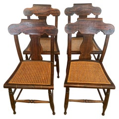 Set of Four American Classical Painted Faux Grain Rosewood & Caned Dining Chairs