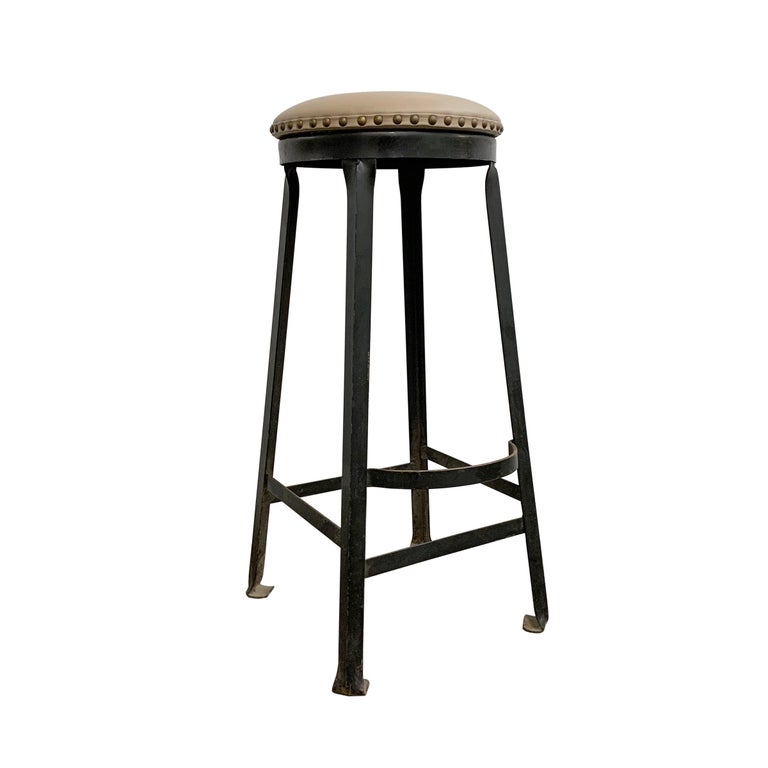 Mid-20th Century Set of Four American Industrial Bar Stools For Sale