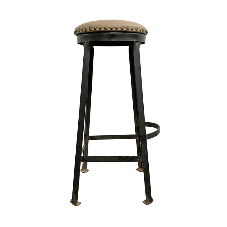 Iron Set of Four American Industrial Bar Stools For Sale