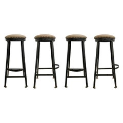 Set of Four American Industrial Bar Stools