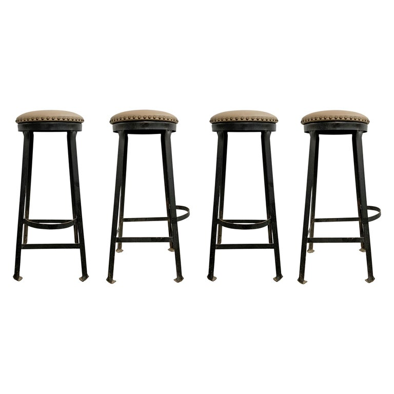 Set of Four American Industrial Bar Stools For Sale