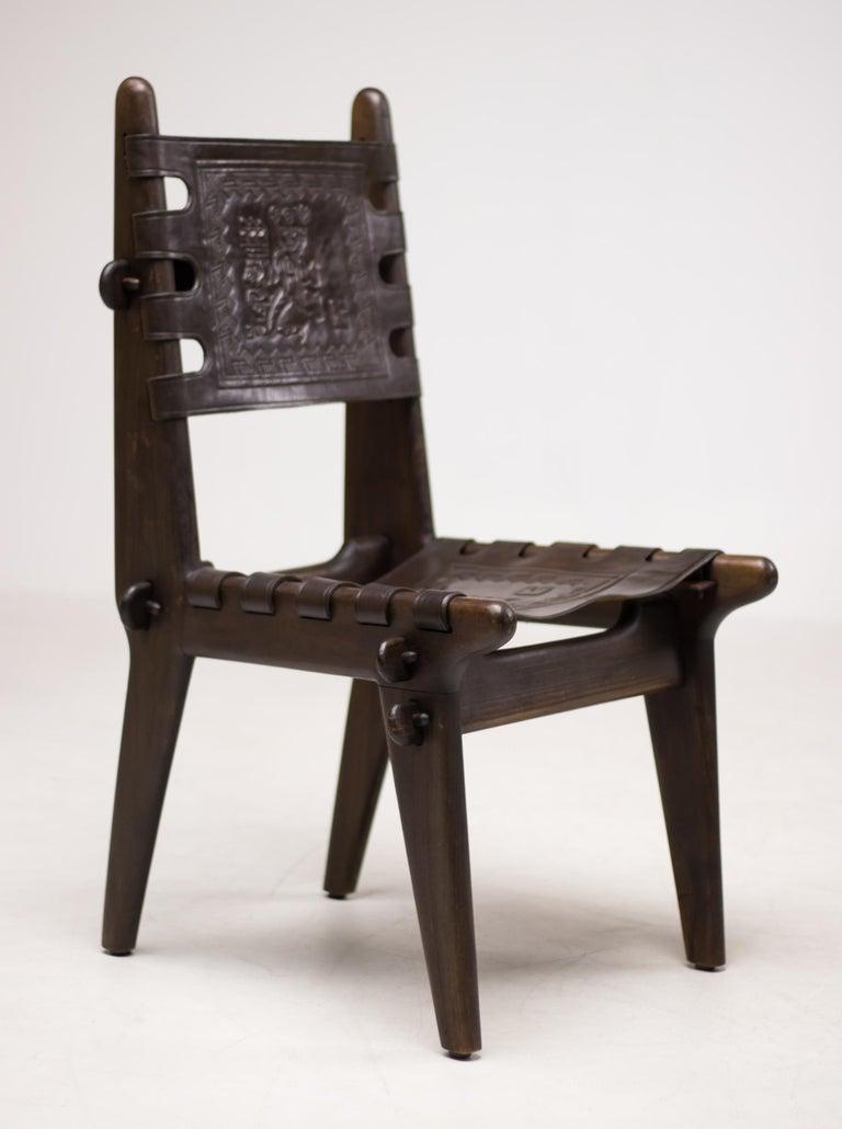 5fdf41c92ba69 Rare set of four Angel Isaac Pazmino Muebles de Estillo Ecuadorian dining  chairs in solid dark
