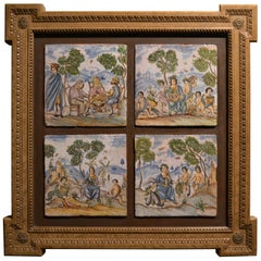 Set of Four Antique 19th Century European Hand Painted Tiles in Wooden Frame