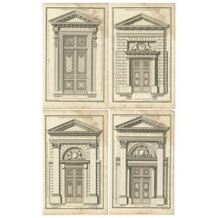 Set of four Antique Archicture Prints of Portico Designs, Neufforge 'circa 1770'