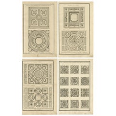 Set of Four Antique Architecture Prints of Ceiling and Floor Designs, Neufforge