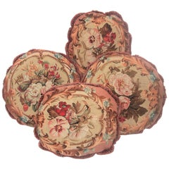 Set of Four Antique Aubusson Tapestry Style Fragments as Floral Pillows