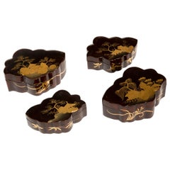 Set of Four Antique Chinoiserie Lacquer Jewelry Boxes, Japanese, 19th Century