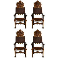Pair of  Antique Continental Gilt Hall Chairs