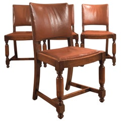 Set of Four Antique Dining Chairs, Edwardian Oak and Leather, circa 1910