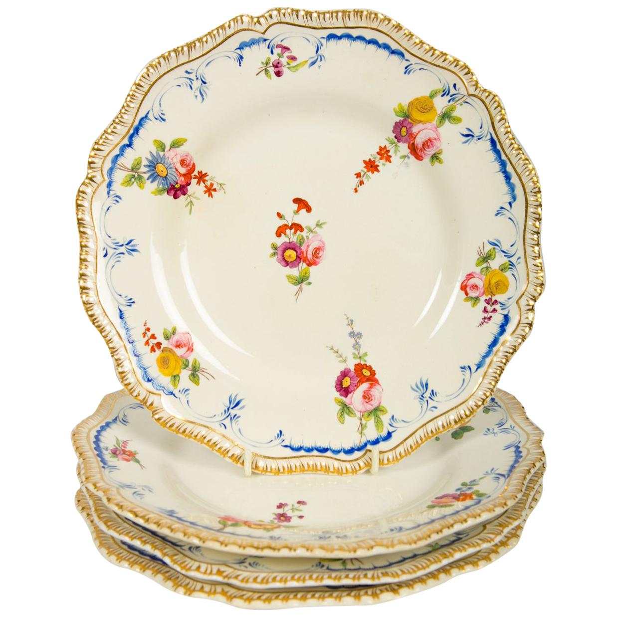 Set of Four Antique Dinner Plates Made by Coalport in the Early 19th Century
