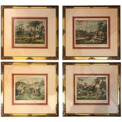 Set of Four Antique English Tiger Hunting Prints, Mid-19th Century