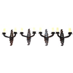 set of four antique  French 1940  wrought iron sconces