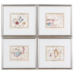 """Set of Four Antique French Celestial Engravings from John Flamsteed """"Atlas Cele"""