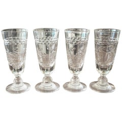 Set of Four Antique French Etched Glasses