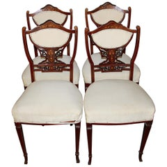 Set of Four Antique Inlaid Side Chairs, 19th Century