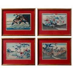 Set of Four Antique Japanese Hiroshige School Wood Block Prints, circa 1900