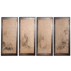 Set of Four Japanese Suibokuga Ink Paintings by Kano Tokinobu, 17th Century