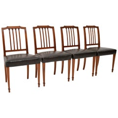Set of Four Antique Mahogany and Leather Dining Chairs
