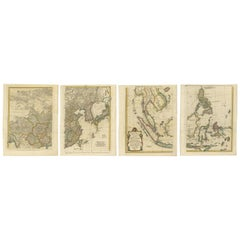Set of Four Antique Maps of Asia by Bolton & Seale, circa 1770