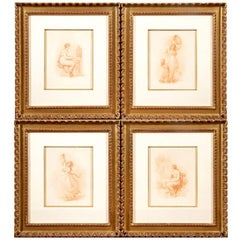 Set of Four Antique Neoclassical Style Sepia Tone Engravings