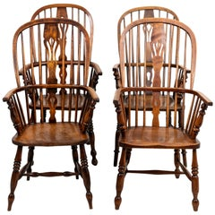 Set of Four Antique Oak Windsor Armchairs