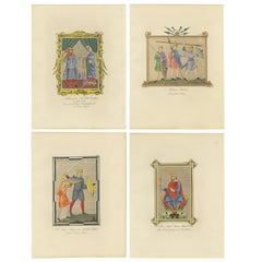 Set of four Antique Prints of English Costumes by Strutt '1862'