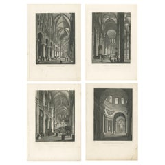 Set of Four Antique Prints with Interior Views of Famous Buildings in Paris