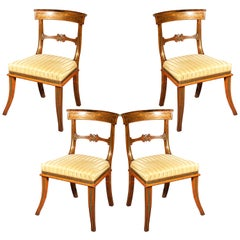 Set of Four Antique Regency Klismos Chairs, Attributed to George Oakley