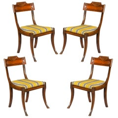 Set of Four Antique Regency Klismos Chairs, English, circa 1810