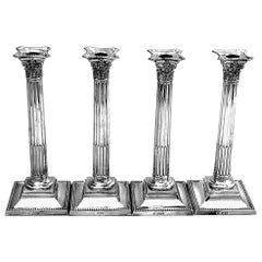 Set of Four Antique Victorian Sterling Silver Candlesticks 1892 Corinthian