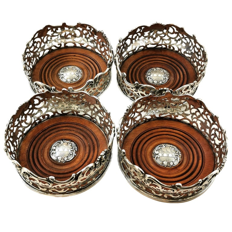 English Set of Four Antique Victorian Sterling Silver Wine Bottle Coasters, 1843 For Sale
