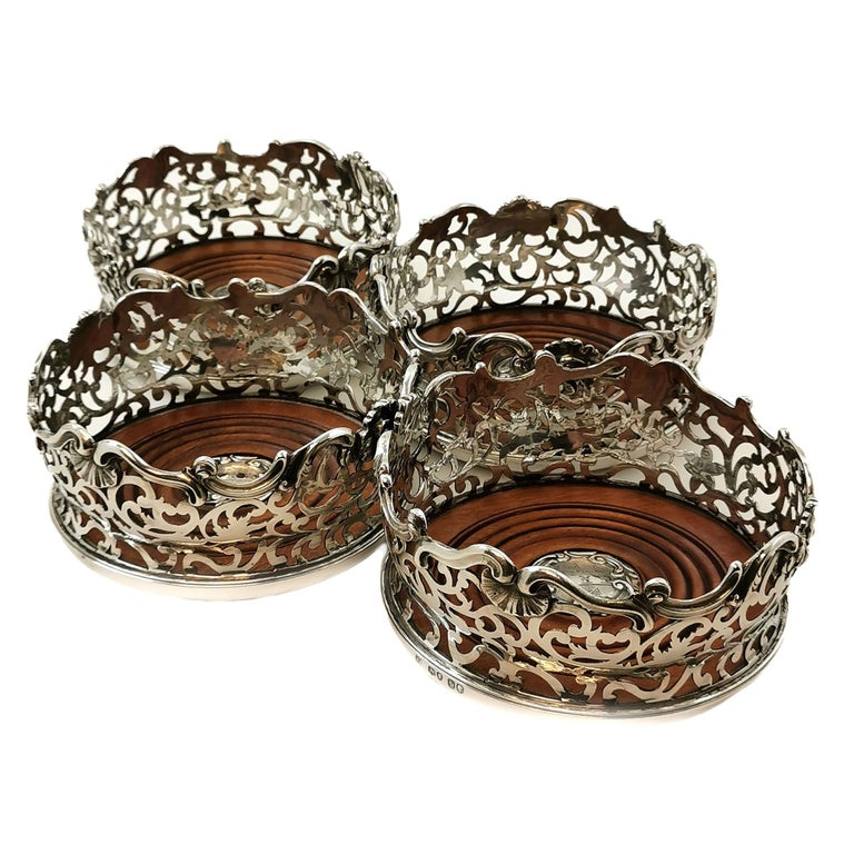 19th Century Set of Four Antique Victorian Sterling Silver Wine Bottle Coasters, 1843 For Sale