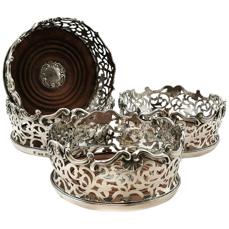 Set of Four Antique Victorian Sterling Silver Wine Bottle Coasters, 1843 For Sale