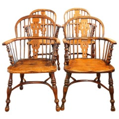 Set of Four Antique Yew Wood Windsor Armchairs