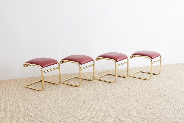 American Set of Four Anton Lorenz Cantilever Stools by Thonet For Sale