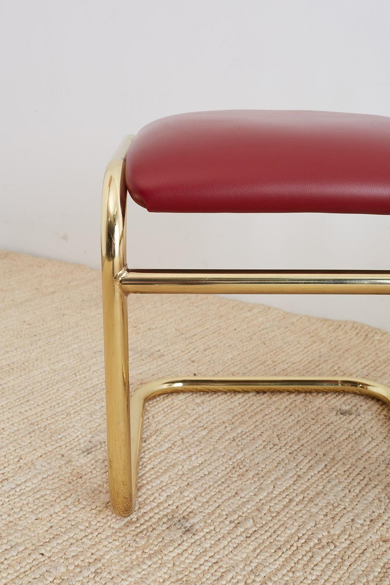 Set of Four Anton Lorenz Cantilever Stools by Thonet In Good Condition For Sale In Oakland, CA