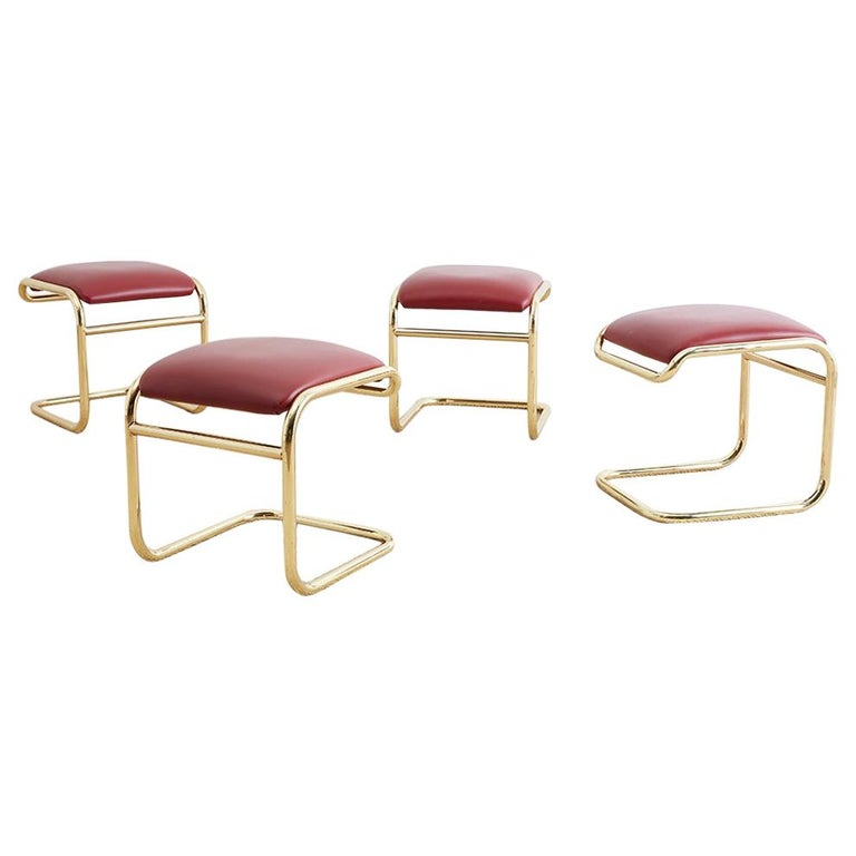 Set of Four Anton Lorenz Cantilever Stools by Thonet For Sale