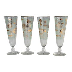 Set of Four Aquatic Theme Fish and Seahorse Aqua Gold Pilsner Glasses