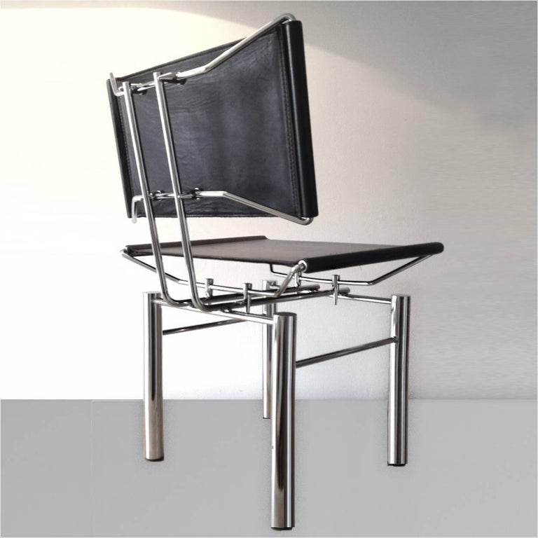German Set of Four Architectural Black Woven Chrome Dining Chairs from Ulrich Bitch For Sale