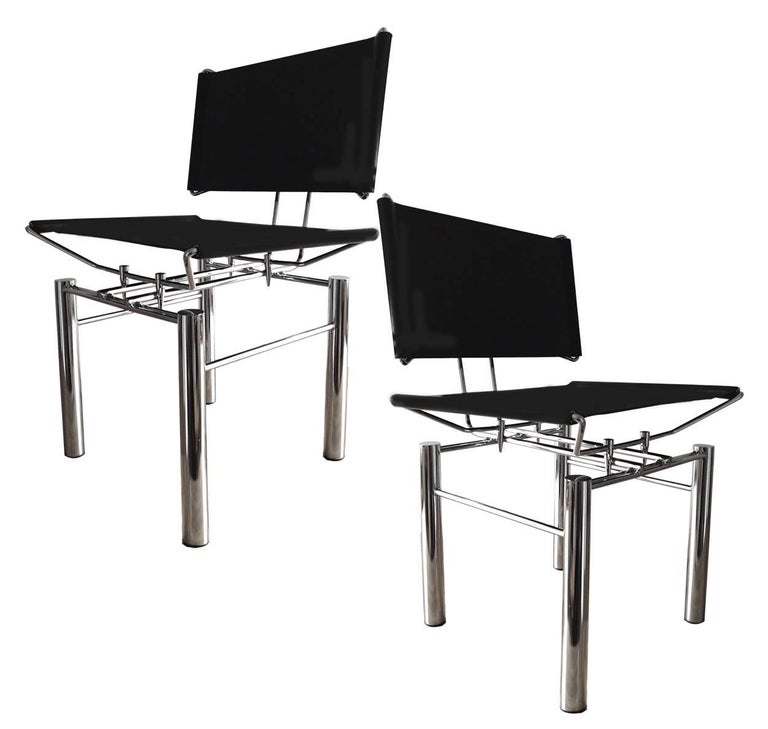 Set of Four Architectural Black Woven Chrome Dining Chairs from Ulrich Bitch In Good Condition For Sale In Rijssen, NL